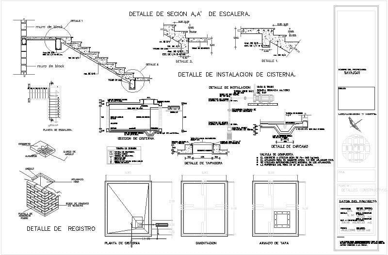 Detalles de escalera y cisterna