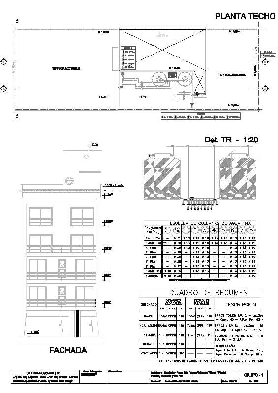 Planos de instalacion Sanitaria de edificio de 4 pisos.
