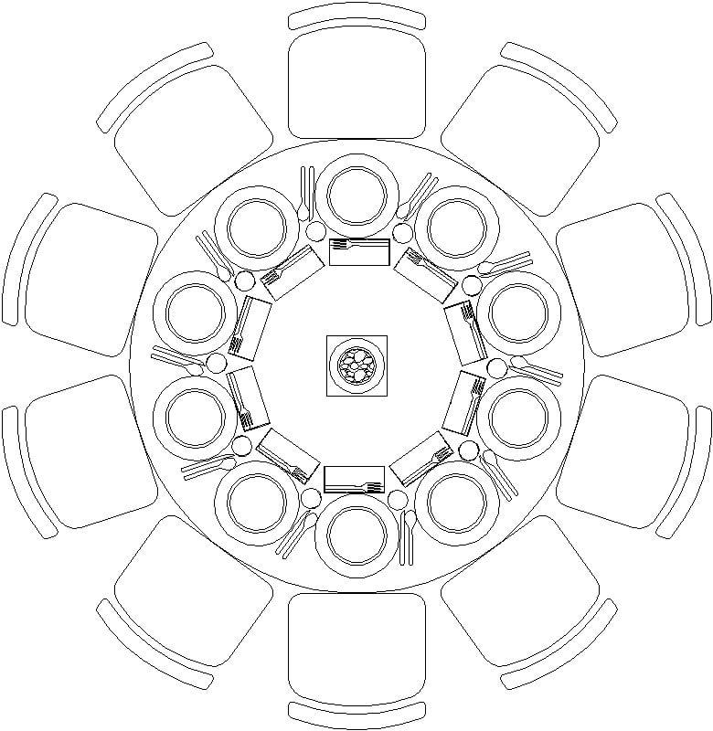 Mesa Circular para 10 Personas