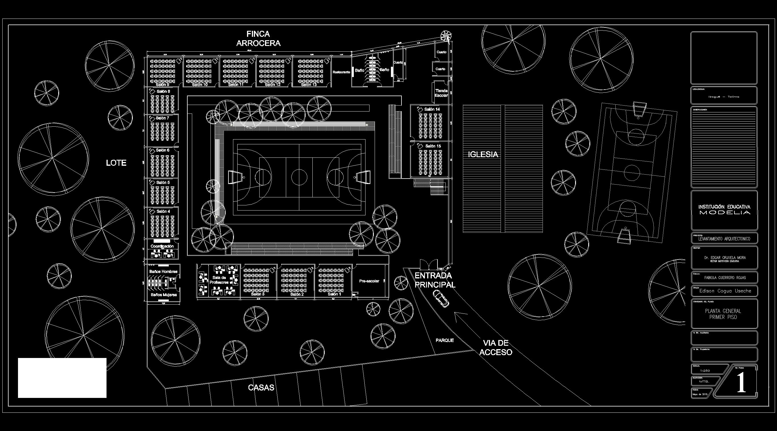Descarga gratis plano colegio planos y bloques en for Planos de arquitectura pdf