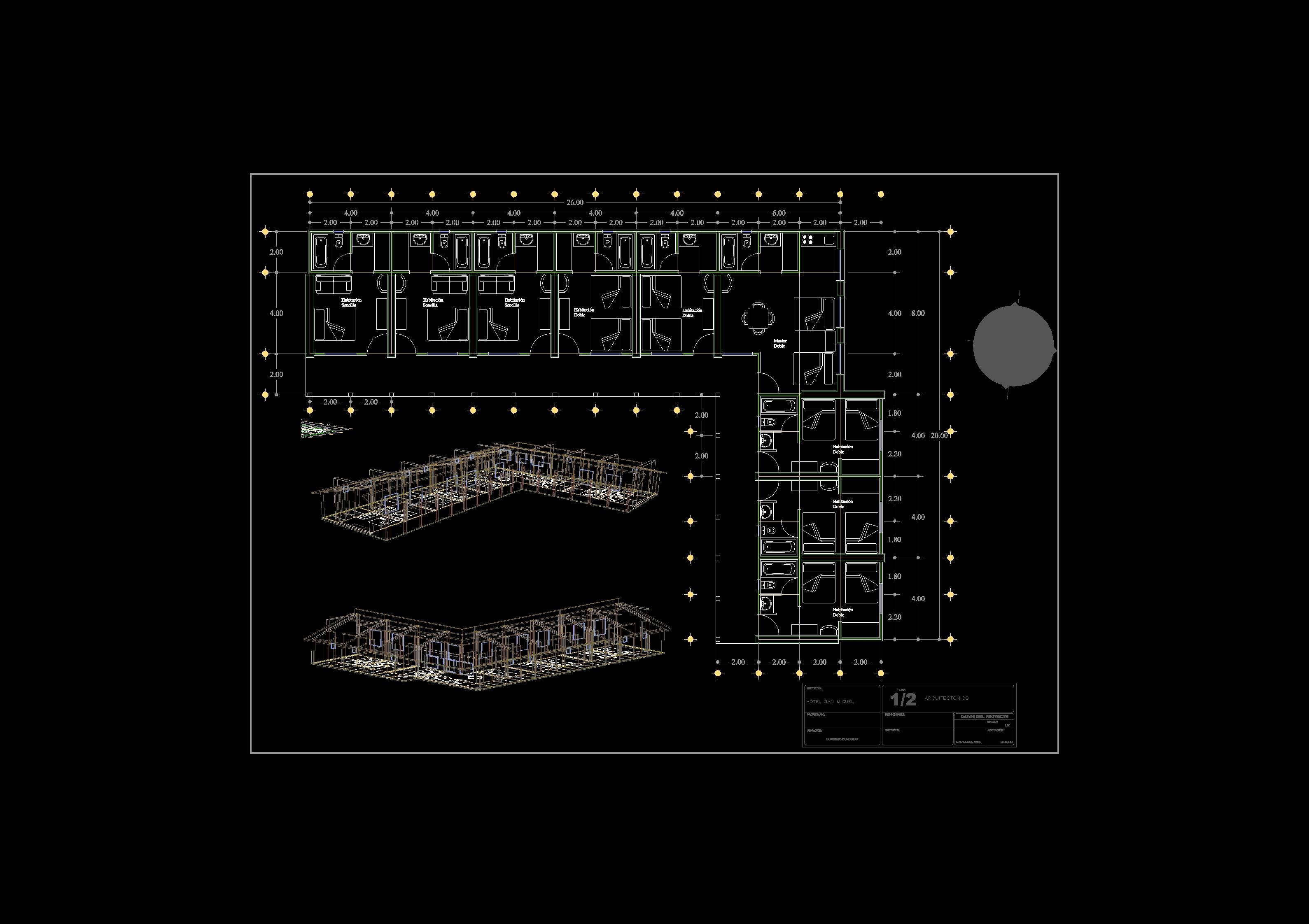 Descarga gratis hotel san miguel planos y bloques en for Software planos arquitectonicos