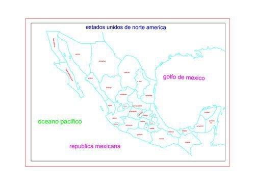 Mapa de la republica mexicana con division politica sin nombres en AutoCAD