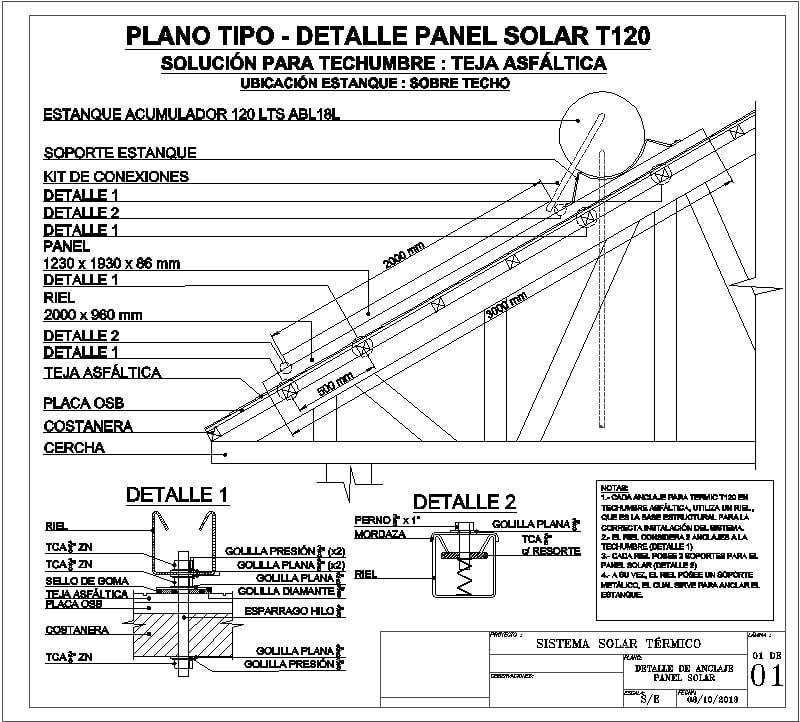 detalle de anclaje panel solar
