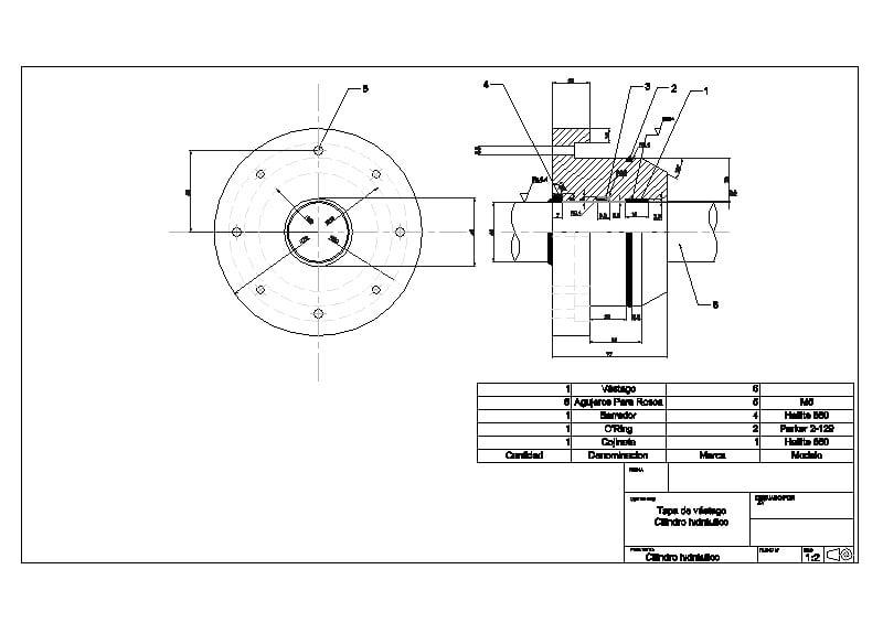 Tapa cilindro hidraulico