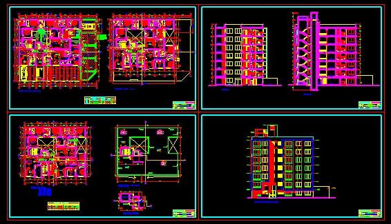 plano de residencia multifamiliar dwg