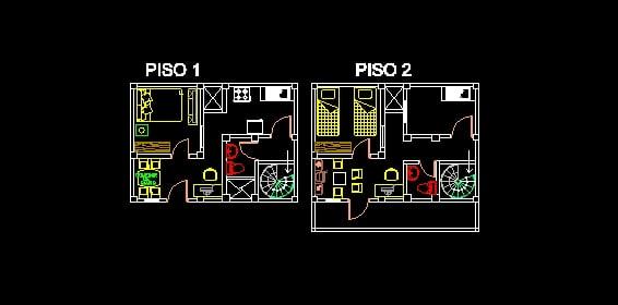 Casas de dos niveles descarga gratis de planos archivos for Casa minimalista dwg