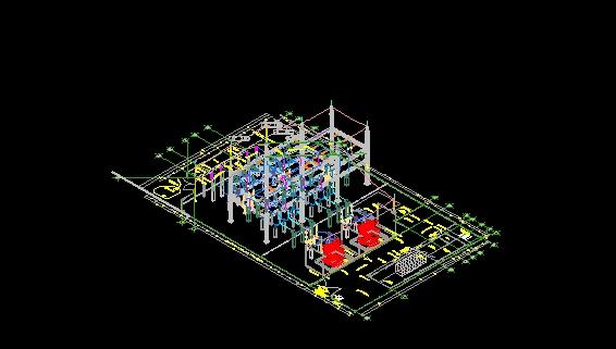 isometrico de buses y equipo en 3d