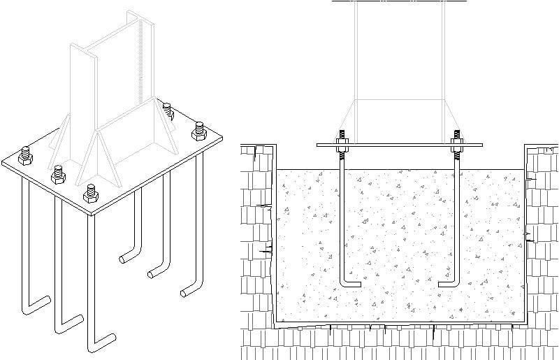 detalle de anclaje estructura metalica