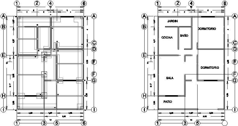 planta de cimentación y arquitectónica