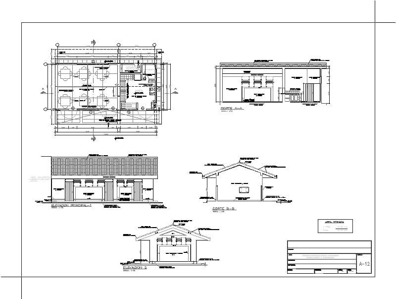 planta arquitectónica de cafetería