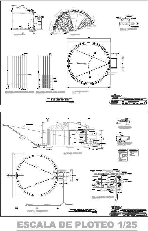 plano de detalle de reservorio
