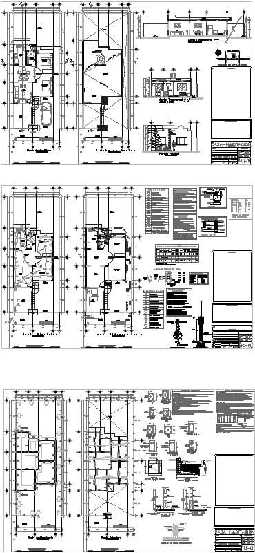Planos completos de casa de 1 nivel con detalles y de detalle de junta constructiva