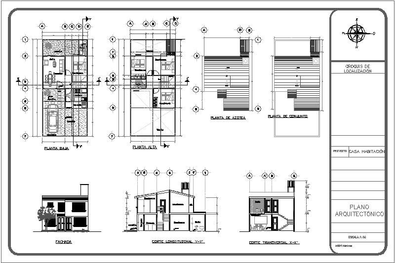 Plano Arquitectinico de vivienda de interés social de dos niveles