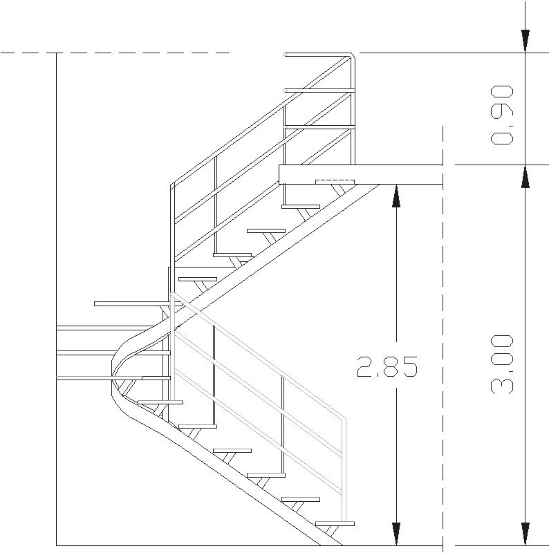 escalera con barandal co-300-c