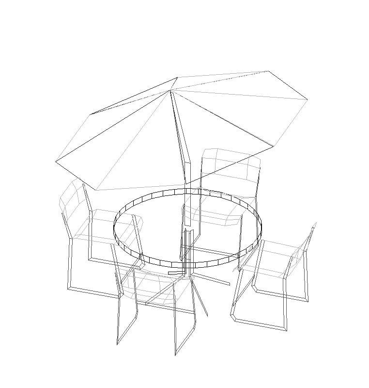Bloque de una mesa de campo en 3D