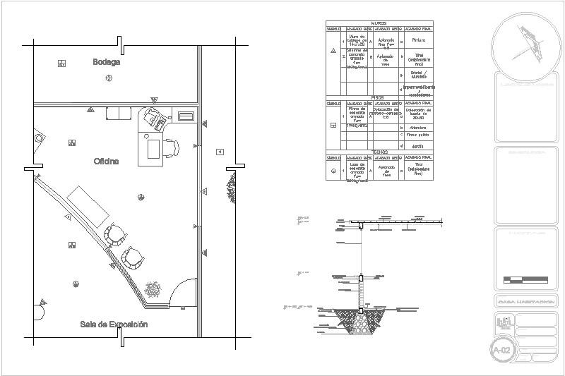 Plano de acabados y Corte por fachada (sencillo)