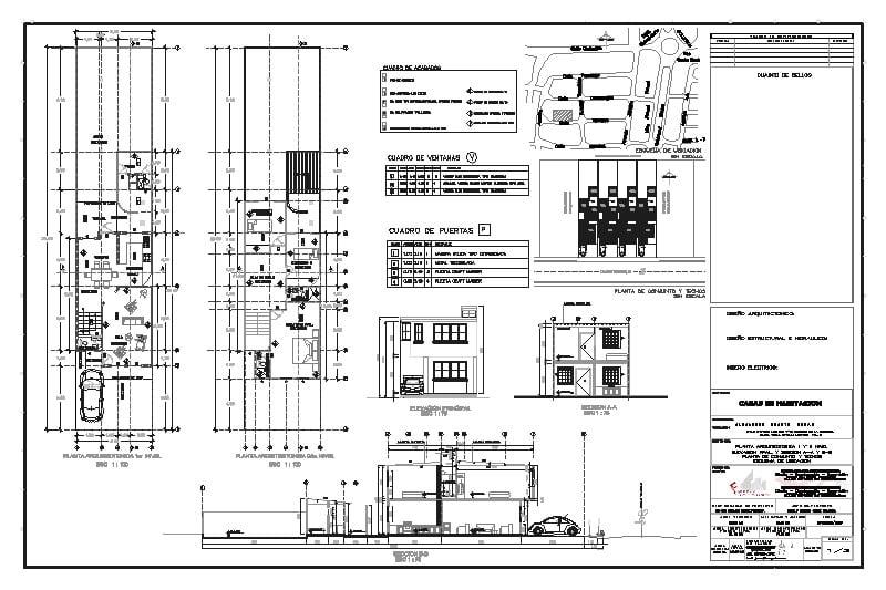 Plano arquitectónico de una vivienda