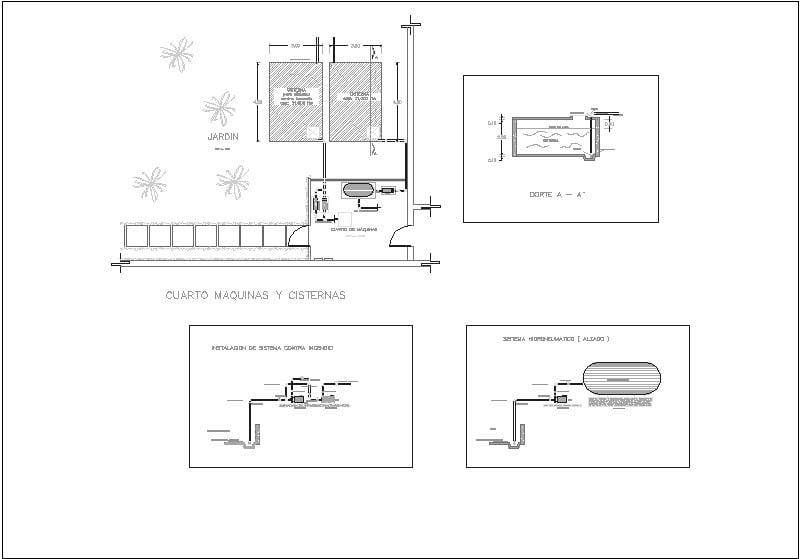 detalle de bomba planta y alzado