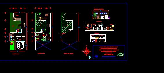 Plano de Casa Habitación Sencilla doble piso Conalep