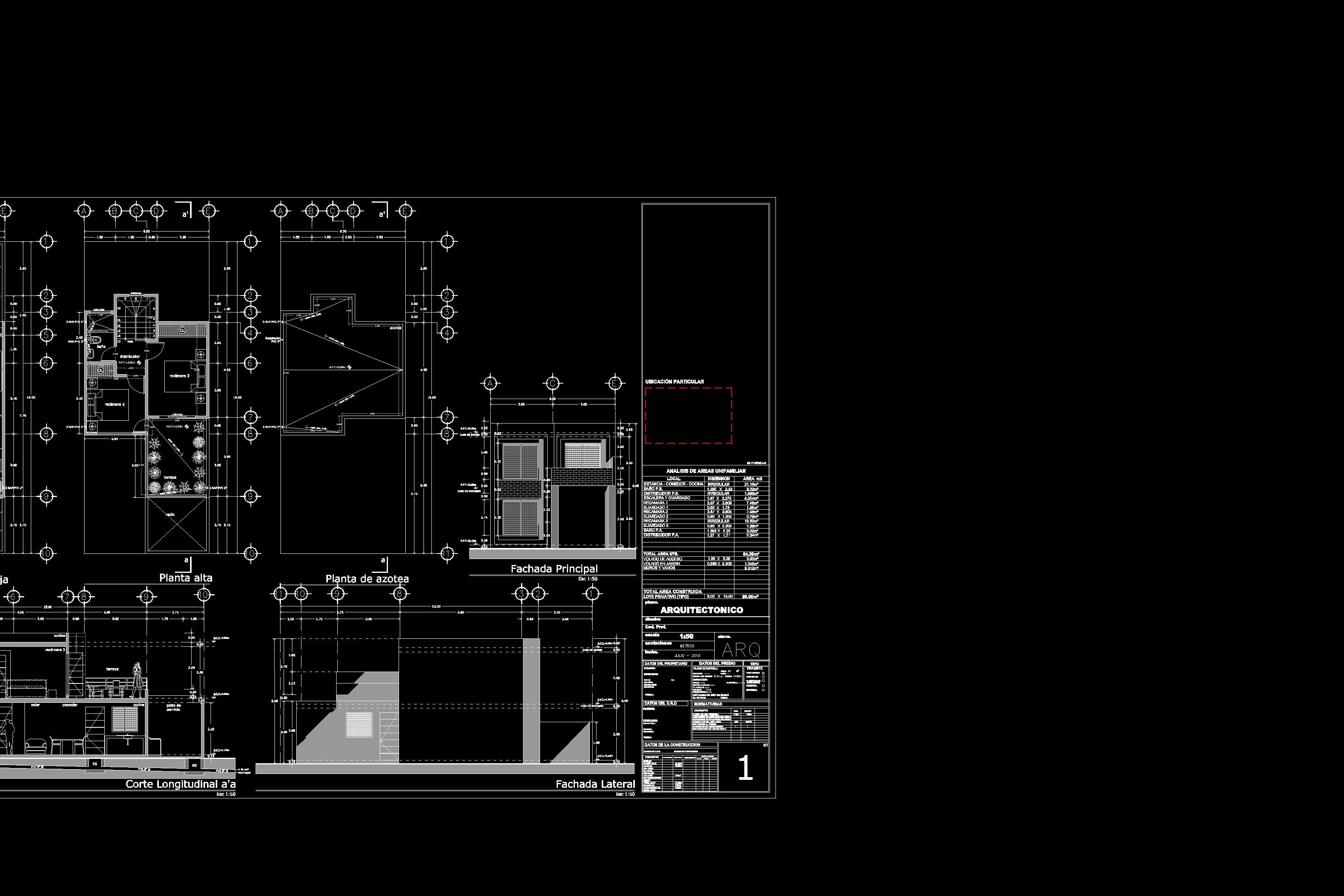 Plano arquitectonico casa habitación