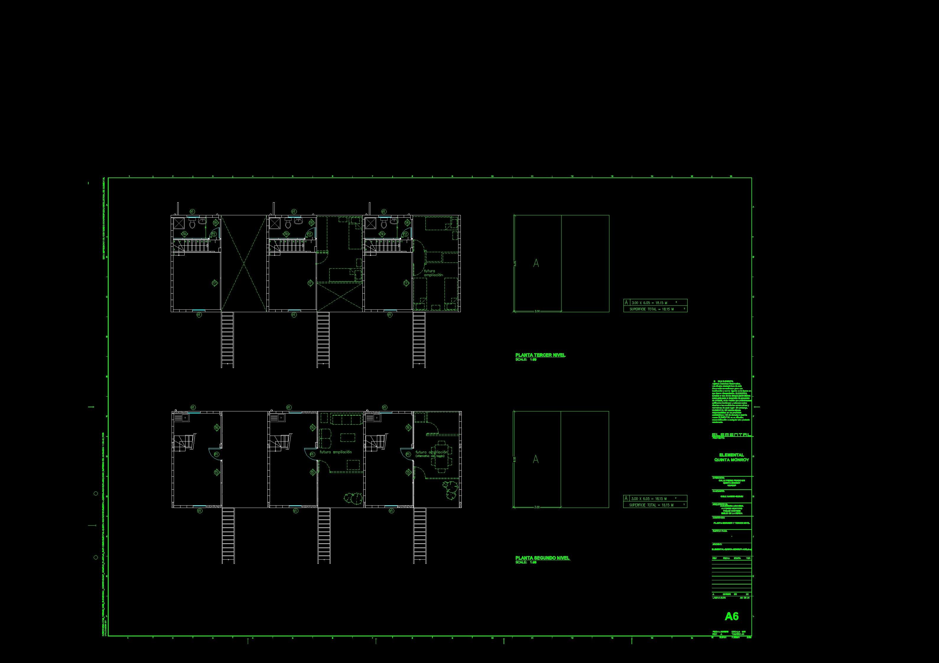 Proyecto de Aravena: Planos Arquitectónicos de la Quinta Monroy por Aravena