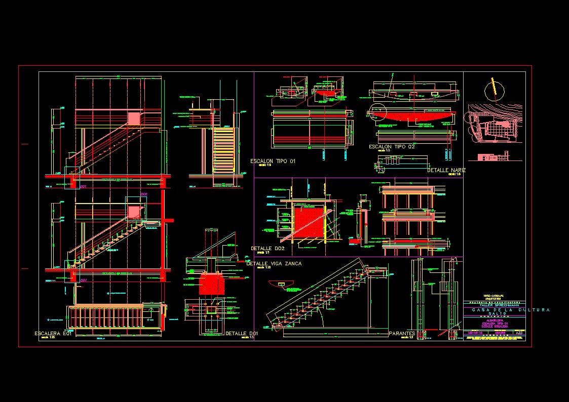 Descarga gratis escaleras planos y bloques en autocad for Planos de escaleras de concreto armado