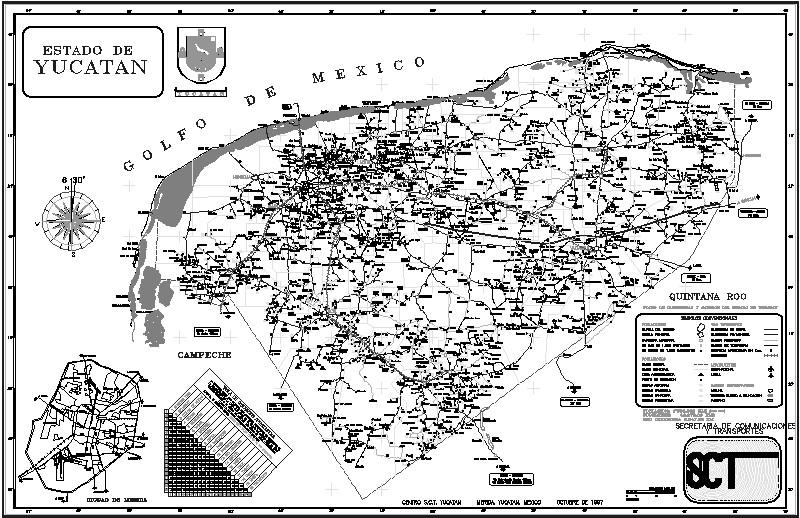 Plano del estado de Yucatan; México