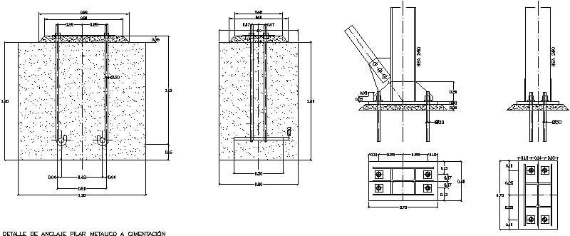 detalle de dado y columna de acero