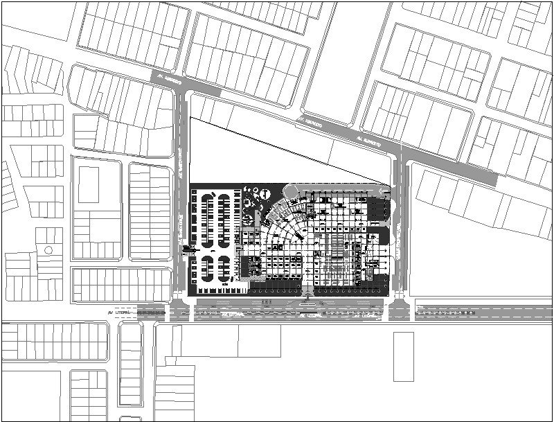 Plano arquitectónico de mega centro comercial