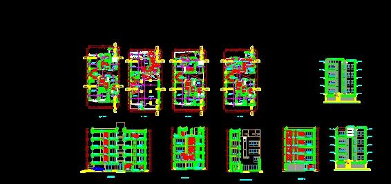 Arquitectura de una edificacion de 5 pisos