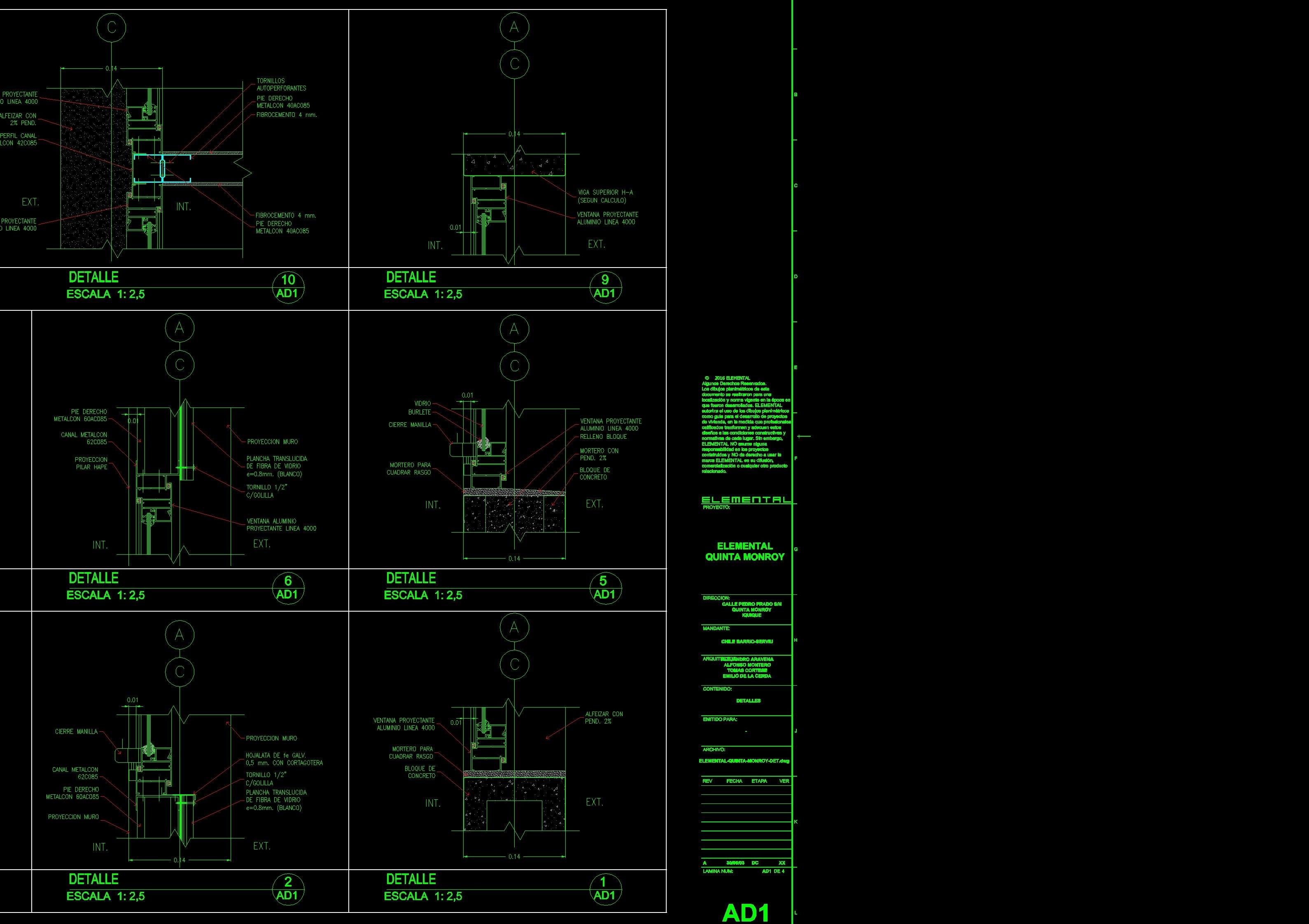 Proyecto de Aravena: Planos de Detalles de la Quinta Monroy por Aravena
