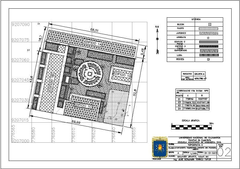 plano topografico de plazuela de ingenieria civil de Cajamarca