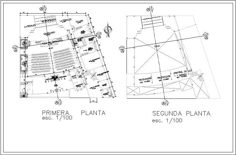 planos arquitectónicos de teatro de dos niveles